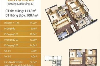 Bán chung cư N01T5 Ngoại Giao Đoàn căn 05, 06 full nội thất 108m2 giá từ 31,5tr/m2. LH: 0983638558