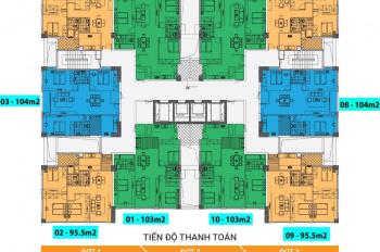Bán căn góc chung cư Ngoại Giao Đoàn tòa N03T1 95m2, 3 phòng ngủ - 0904625338 Ms Vân