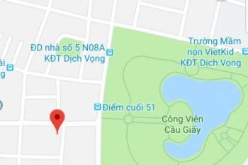 Bán đất lô góc độc nhất Trần Đăng Ninh KD, Dịch Vọng Hậu, Cầu Giấy. MT 24,62m, DT 161m2