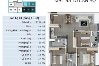 Chính chủ bán cắt lỗ căn 81,18m2, 3 ngủ, 2VS tại FLC 418 Quang Trung, giá 1,526 tỷ, LH: 0985049638