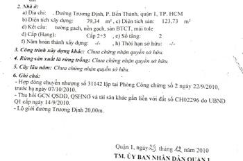 Bán nhà mặt tiền đường Trương Định, P. Bến Thành, Q1 - 80m2 - Giá 38 tỷ TL