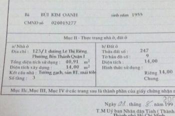 Bán nhà 123/1 Lê Thị Riêng, P.Bến Thành, Q.1.  Sổ đỏ chính chủ