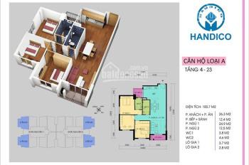 Cần bán căn góc 3PN ban công Đông Nam, 98.68m2, Handi Resco - 0907.127.885