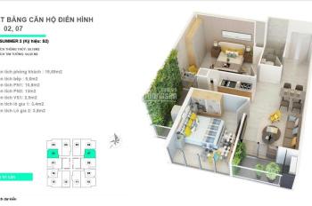 Chính chủ bán căn 59m2 tòa Five Season giá 1,8 tỷ, full nội thất full kính tầng trung : 0915555391