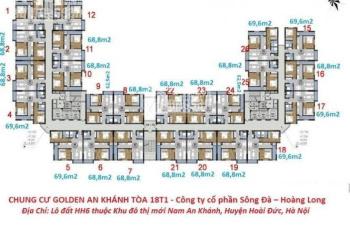 Chính chủ bán gấp chung cư Golden An Khánh, tầng 12-05, 69m2, 2PN 2WC, giá 1.05 tỷ. LH 0962354708