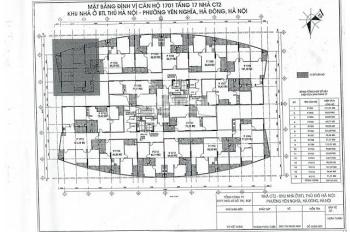 Chính chủ bán gấp chung cư CT2 Yên Nghĩa, căn 1611, DT 69m2, giá 12.5tr/m2, LH 0904999135
