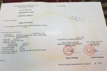 Chính chủ cần bán gấp mảnh đất LK 05 Lô 9 giá 58tr/m2, sân bóng Mậu Lương, Kiến Hưng, Hà Đông.
