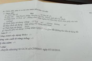 Cần bán gấp đất vườn xã Phước Hiệp, huyện Củ Chi