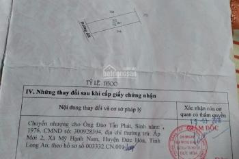Bán nhà đất sát chợ Mỹ Hạnh Nam, Đức Hòa, Long An 800 triệu, 110m2 SHR chính chủ