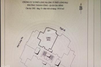 Bán căn hộ 1302 tầng 13 chung cư 57 Láng Hạ - Phường Thành Công - Ba Đình - Hà Nội
