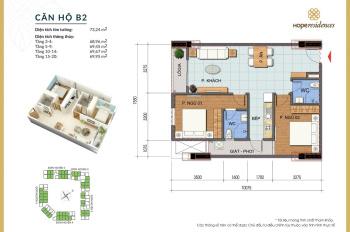 Chính chủ nhượng căn 2PN, 70m2, tòa H5, tầng 12, chung cư Hope Residence. Nội thất cơ bản