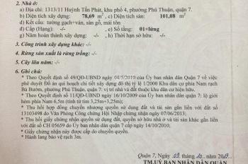 Bán nhà hẻm 1313/11 Huỳnh Tấn Phát, Phường Phú Thuận, Q7, TP.HCM
