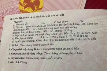 Cần bán đất chính chủ tại xã Minh Sơn, huyện Hữu Lũng, tỉnh Lạng Sơn, liên hệ 0968461584
