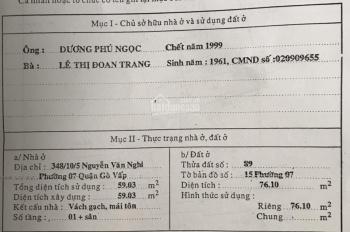 Bán lô đất thổ cư DT 76m2 giá 3,95 tỷ, gần ngã 6 Gò Vấp, hẻm 334/10/5 Nguyễn Văn Nghi