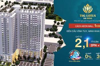 Bán căn hộ full nội thất tại chung cư Sài Đồng, giá 2.1 tỷ/căn DT 86m2 hỗ trợ 0% LS, CK 3% GTCH