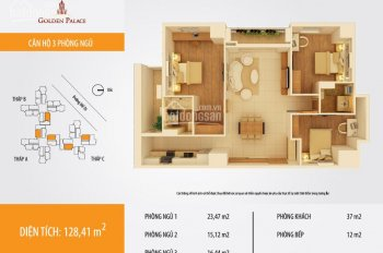 Chính chủ cần bán CHCC Golden Palace Mễ Trì, DT 128m2, 3PN, 2WC, full nội thất. Giá 33,5tr/m2