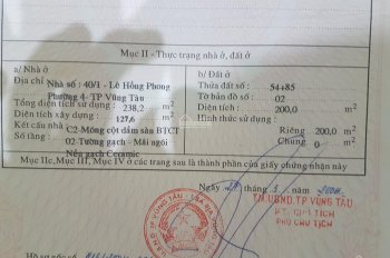 Cho thuê nhà chính chủ trung tâm TP. Vũng Tàu, DT liên hệ: Thành 0932614390