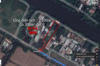 Trí BĐS, nhà đất 1100m2 (có 300m2 thổ cư), MT Trương Văn Đa, đất đẹp 2 mặt tiền ngay UBND xã
