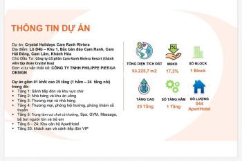 Căn hộ dịch vụ Cam Ranh Riviera Resort, vị trí vàng, lợi nhuận 200 tr/năm, tăng 2% mỗi năm