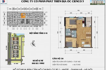 Chính chủ bán căn hộ 73.81m2, giá 985 triệu tầng 12 chung cư Thanh Hà, Kiến Hưng, Hà Đông