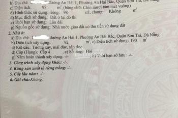 Bán nhà 2 tầng đường An Hải 1, gần khán đài bắn pháo hoa song song đường Thế Lữ, Sơn Trà