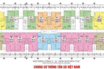 Cần bán gấp căn hộ 2 phòng ngủ, DT: 75m2 chung cư Thông Tấn Xã, giá 21,5 triệu/m2, 0963777502