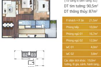 Bán căn 09 tầng trung, giá 33 triệu/m2
