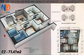 Cắt hòa căn hộ 3PN A-1206 (73.5m2) chung cư BTL CT1 Yên Nghĩa, Hà Đông, giá chỉ 12tr/m2. 0919130482
