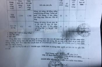 Bán nhà xưởng An Điền, Bến Cát, đường container 1.7 hecta, giá bán 30 tỷ, ĐT 0908194606 Nga