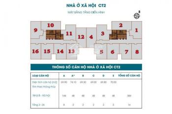 Bán căn hộ chung cư 789 Xuân Đỉnh Bộ Quốc Phòng tầng 1806 DT 70m2, giá bán 26tr/m2. LH 0904516638
