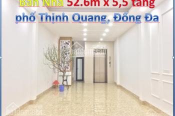 Bán nhà 52.5m x 5.5 tầng xây mới phố Thịnh Quang, Đống Đa, có thang máy, giá chỉ 6.5 tỷ