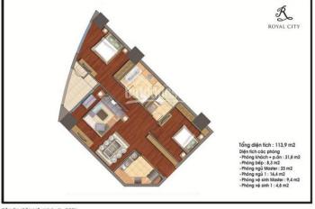 Bán gấp CCCC Royal City, căn hộ 113m2 tòa R2, giá 3.75 tỷ. LH: 0917 506 516
