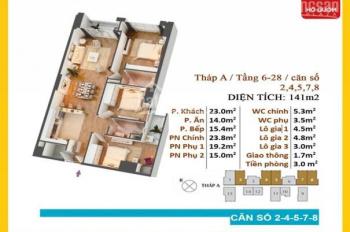 Bán căn 141m2 giá 3.450 tỷ (bao phí sang tên sổ) chung cư Hồ Gươm Plaza,Mộ lao, Hà Đông: 0911406588