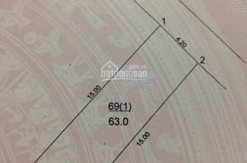 Chính chủ cần bán nhanh lô đất Cổ Bi, Gia Lâm. Dt: 63m2, Dt: 4,2m. Đường rộng 6m, Giá siêu rẻ.