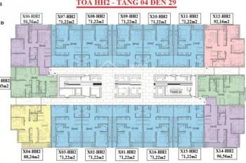 Cần tiền bán gấp chung cư 90 Nguyễn Tuân căn 1503 tòa HH2 DT: 71.22m2, giá 28tr/m2. LH: 0903400558