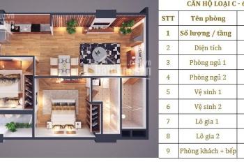 Chính chủ bán căn hộ Athena Xuân Phương, 2 phòng ngủ 69m2, ban công hướng nam