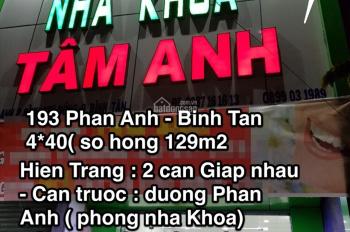 Bán 2 căn nhà mặt tiền 193 Phan Anh: 13,5 tỷ (2 căn) 129m2, chính chủ 0385913072