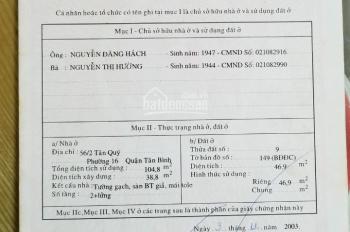 Cần bán nhà 56/2 Tân Quý, Tân Phú 104m2/3,6tỷ, LH CC: 0915 500 471