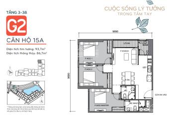 Chính chủ cho thuê dài hạn căn hộ G2-3415A (93.7 m2 - tim tường). Căn 15A hướng ĐB view hồ 10ha