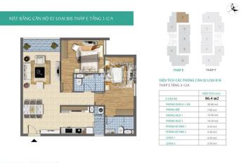 Bán gấp căn hộ 2PN, 2WC, căn góc, CC xây cho cán bộ Trung ương Đảng, đường Trần Hữu Dực, Mỹ Đình