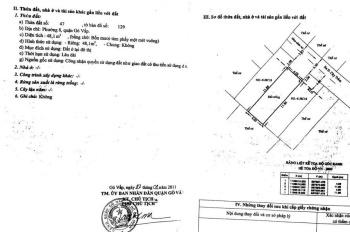 Bán đất hẻm Cây Trâm, p9, 4x14m, hẻm xe hơi, khu dân trí cao