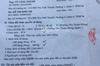 Chính chủ cần bán nhà tại Tân Thuận Đông, TP. HCM