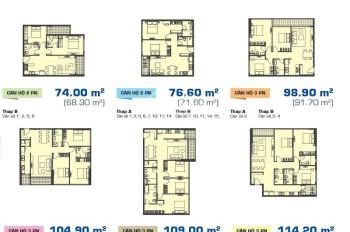 Sunrise City View bán căn hộ 98,9m2, 3 phòng ngủ, 2WC, nhà thô có ban công