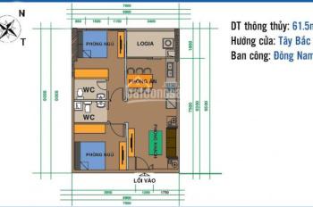 Gia đình cần tiền bán gấp căn hộ 61,58m tòa CT2 tầng 10, ban công Đông Nam - LH: 0949411100