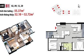 Cần bán căn hộ 2 phòng ngủ diện tích 53m2 tại chung cư Hateco Apllo xuân phương