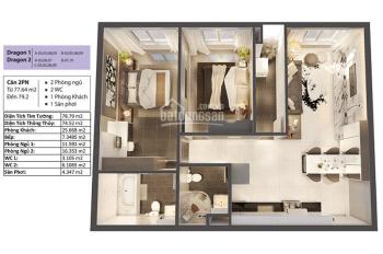 Căn hộ 78m2, Dragon - tổng giá 2,3 tỷ đã bao gồm chênh lệch - thanh toán 36% sở hữu căn hộ