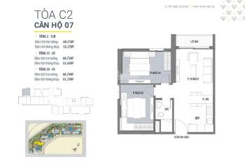 Bán căn góc 2 phòng ngủ 60m2, tòa C2 dự án Vinhomes D'Capitale, giá 2,4 tỷ. Liên hệ: 0976.392.902