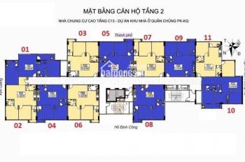 Chú Ngọc cần bán gấp CC C13 Bộ Quốc Phòng, T1008 - 62m2, BC ĐN, giá 20tr/m2 (BT). LH: 0961958301