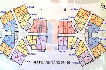 Chính chủ bán căn hộ CC CT1 Yên Nghĩa, Hà Đông căn góc tầng 1810B, DT 61m2, giá 12,5tr/m2