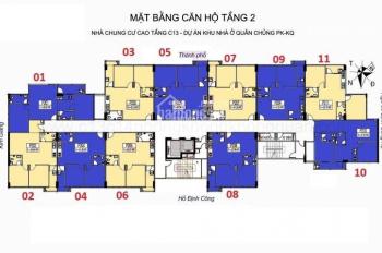 Cần bán CHCC C13 ngõ 99 Định Công Hạ tầng 1006 DT: 62,16m2, giá bán 19 tr/m2. Bao tên